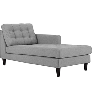Empress Right-Arm Upholstered Fabric Chaise in Light Gray