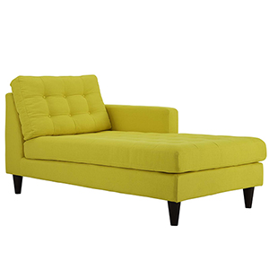 Empress Right-Arm Upholstered Fabric Chaise in Sunny