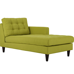 Empress Right-Arm Upholstered Fabric Chaise in Wheatgrass
