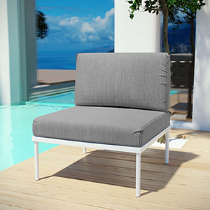 Harmony Armless Outdoor Patio Aluminum Chair in White Gray