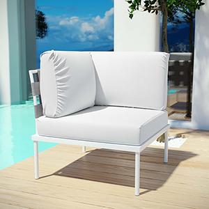 Harmony Outdoor Patio Aluminum Corner Sofa in White White