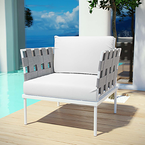 Harmony Outdoor Patio Aluminum Armchair in White White