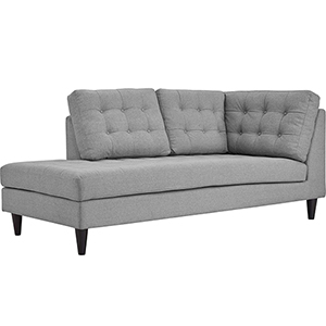 Empress Upholstered Fabric Chaise in Light Gray
