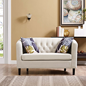 Prospect Upholstered Fabric Loveseat in Beige