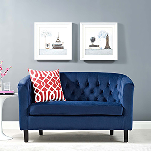 Prospect Velvet Loveseat in Navy
