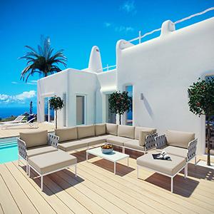 Harmony 10 Piece Outdoor Patio Aluminum Sectional Sofa Set in White Beige