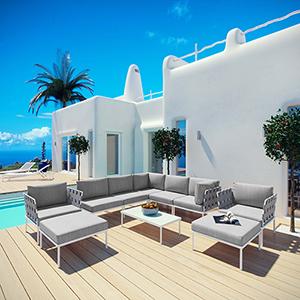 Harmony 10 Piece Outdoor Patio Aluminum Sectional Sofa Set in White Gray