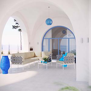 Harmony 7 Piece Outdoor Patio Aluminum Sectional Sofa Set in White Beige