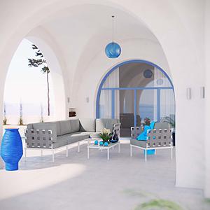 Harmony 7 Piece Outdoor Patio Aluminum Sectional Sofa Set in White Gray