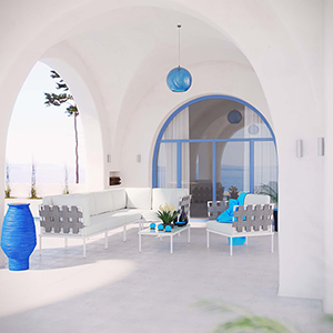 Harmony 7 Piece Outdoor Patio Aluminum Sectional Sofa Set in White White