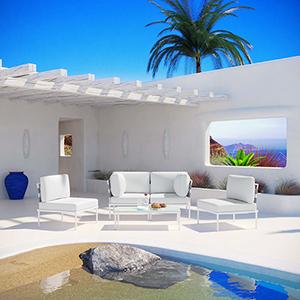 Harmony 5 Piece Outdoor Patio Aluminum Sectional Sofa Set in White White