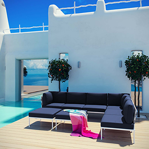 Harmony 8 Piece Outdoor Patio Aluminum Sectional Sofa Set in White Navy