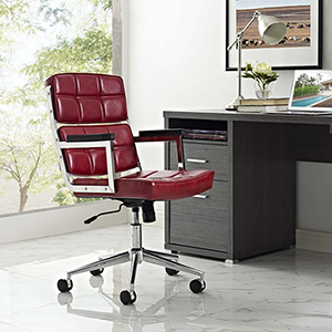 Portray Highback Upholstered Vinyl Office Chair in Red