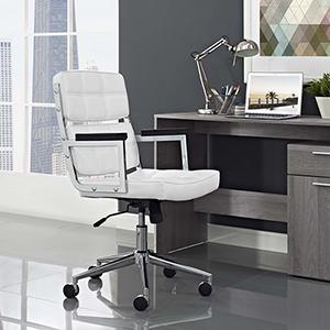 Portray Highback Upholstered Vinyl Office Chair in White