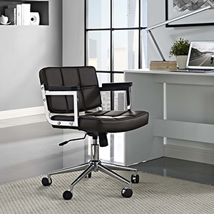 Portray Mid Back Upholstered Vinyl Office Chair in Brown