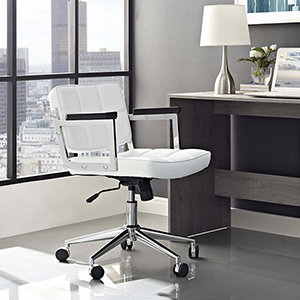 Portray Mid Back Upholstered Vinyl Office Chair in White