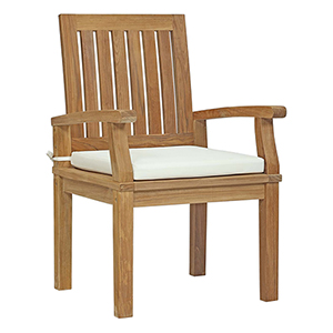 Marina Outdoor Patio Teak Dining Chair in Natural White