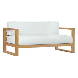 Upland Outdoor Patio Teak Sofa in Natural White