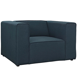 Mingle Upholstered Fabric Armchair in Blue