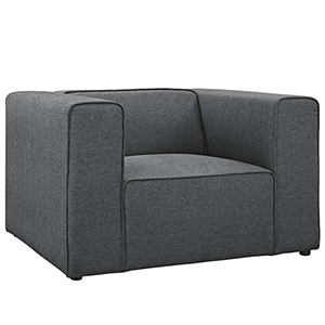 Mingle Upholstered Fabric Armchair in Gray