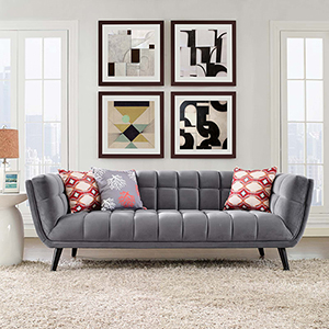Bestow Velvet Sofa in Gray