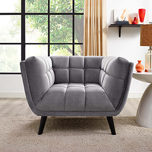 Bestow Velvet Armchair in Gray
