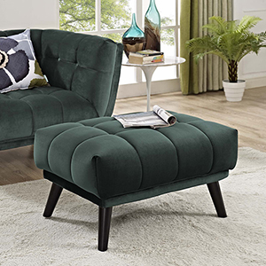 Bestow Upholstered Fabric Ottoman in Green