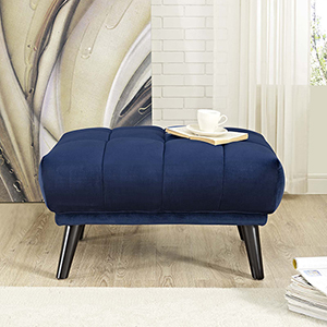 Bestow Upholstered Fabric Ottoman in Navy