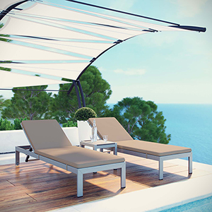 Shore 3 Piece Outdoor Patio Aluminum Chaise with Cushions in Silver Mocha