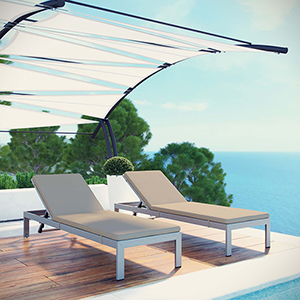 Shore Chaise with Cushions Outdoor Patio Aluminum Set of 2 in Silver Beige