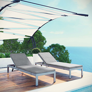Shore Chaise with Cushions Outdoor Patio Aluminum Set of 2 in Silver Gray