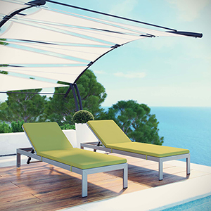 Shore Chaise with Cushions Outdoor Patio Aluminum Set of 2 in Silver Peridot