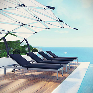 Shore Chaise with Cushions Outdoor Patio Aluminum Set of 4 in Silver Navy