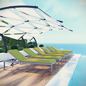 Shore Chaise with Cushions Outdoor Patio Aluminum Set of 6 in Silver Peridot
