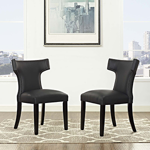 Curve Dining Side Chair Vinyl Set of 2 in Black
