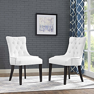 Regent Dining Side Chair Vinyl Set of 2 in White