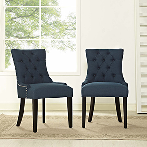 Regent Dining Side Chair Fabric Set of 2 in Azure