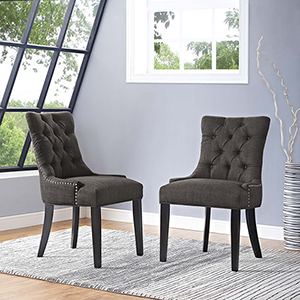 Regent Dining Side Chair Fabric Set of 2 in Brown