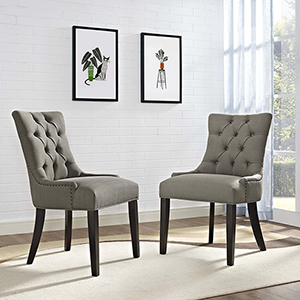 Regent Dining Side Chair Fabric Set of 2 in Granite