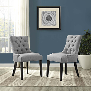 Regent Dining Side Chair Fabric Set of 2 in Light Gray
