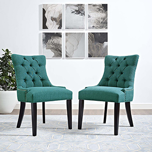 Regent Dining Side Chair Fabric Set of 2 in Teal