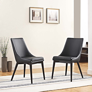 Viscount Dining Side Chair Vinyl Set of 2 in Black