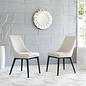 Viscount Dining Side Chair Fabric Set of 2 in Beige