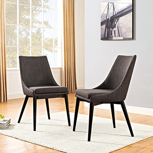 Viscount Dining Side Chair Fabric Set of 2 in Brown