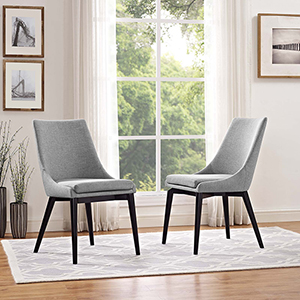 Viscount Dining Side Chair Fabric Set of 2 in Light Gray