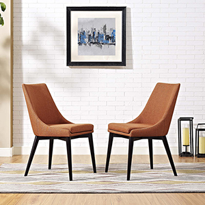 Viscount Dining Side Chair Fabric Set of 2 in Orange