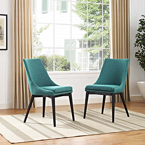 Viscount Dining Side Chair Fabric Set of 2 in Teal