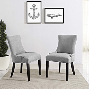 Marquis Dining Side Chair Fabric Set of 2 in Light Gray