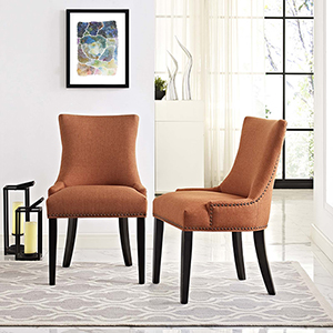 Marquis Dining Side Chair Fabric Set of 2 in Orange