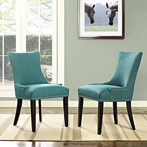 Marquis Dining Side Chair Fabric Set of 2 in Teal